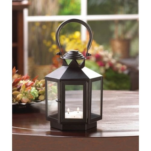 Black Hexagonal Candle Lantern
