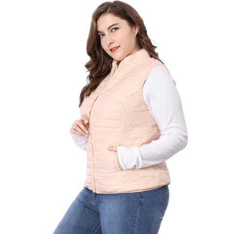 Unique Bargains Women's Plus Size Zip Up Stand Collar Quilted Padded Vest - Pink
