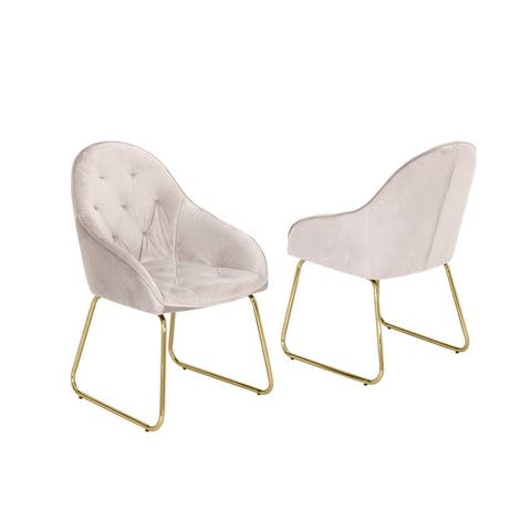 Best Quality Furniture Low-Back Tufted Dining Chairs with Gold-Chrome Legs (Set of 2)