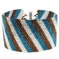 Diagonal Striped Peyote Bracelet (Teal/Brn) - Exclusive Beadaholique Jewelry Kit - Thumbnail 0