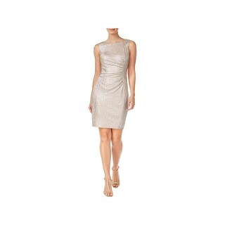 Calvin Klein Womens Cocktail Dress Ruched Metallic