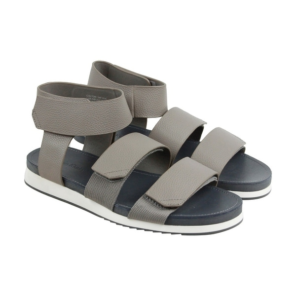 Calvin Klein Colton Webbing Dress Mens Brown Leather Flip Flops Sandals Shoes