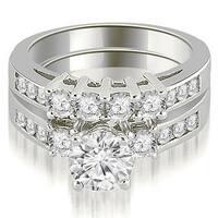 1.70 cttw. 14K White Gold Prong Set Round Cut Diamond Bridal Set