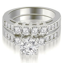 2.20 cttw. 14K White Gold Prong Set Round Cut Diamond Bridal Set