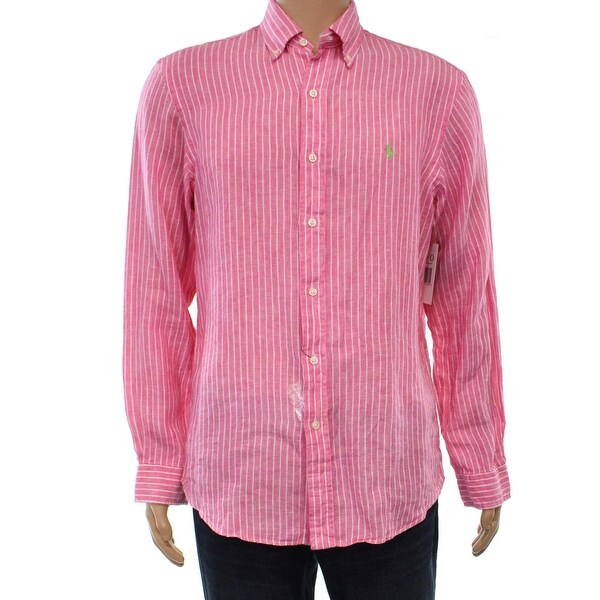 19caf8ea Shop Polo Ralph Lauren Pink Men Size Medium M Striped Linen Button Down -  Free Shipping Today - Overstock - 21431110
