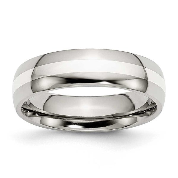 Chisel Sterling Silver Center Polished Stainless Steel Ring (6.0 mm) - Sizes 6-13