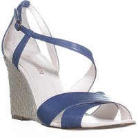 Enzo Angiolini Vanda Ankle Strap Wedge Sandals, Dark Blue - 10 us