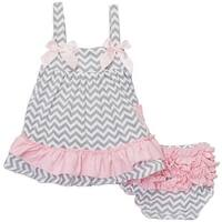 Wenchoice Baby Girls Gray Chevron Bow Ruffles Swing Top Set