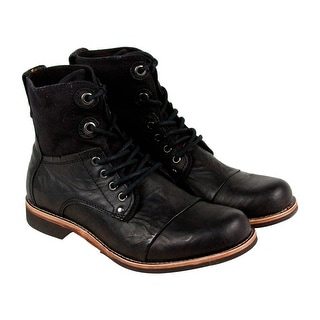 GBX Griff Mens Black Leather Casual Dress Lace Up Boots Shoes
