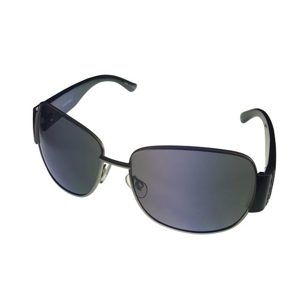 Ellen Tracy Womens  Sunglass 512 2 Silver Black Rectangle Metal, Smoke Lens - Medium