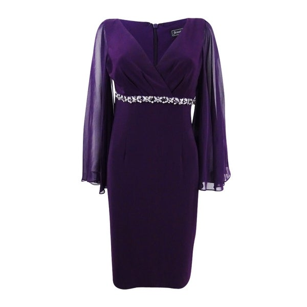 Jessica Howard Women's Rhinestone Capelet Sheath Dress - Plum