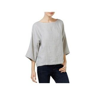 Eileen Fisher Womens Petites Casual Top Linen Blend Frayed Hem - ps