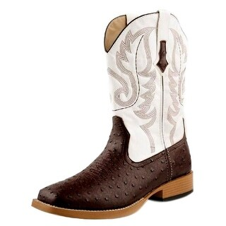 Roper Western Boots Mens Faux Ostrich Brown White