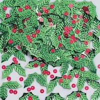 Pack of 12 Green & Red Christmas Holly and Berry Shaped Metallic Party Confetti