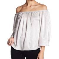 Love On A Hanger Silver Women's XS Off-Shoulder Plisse Blouse