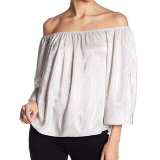 Love On A Hanger Silver Womens Size Medium M Off Shoulder Blouse