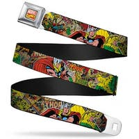 Marvel Comics Marvel Comics Logo Full Color Thor & Loki Poses Retro Comic Seatbelt Belt