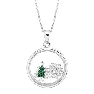 Snowflake & Christmas Tree Holiday Shaker Pendant with Crystals in Sterling Silver - Green