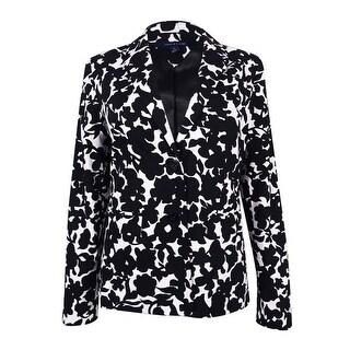 Tommy Hilfiger Women's Floral-Print Blazer (Black/White, 4) - BLACK/WHITE - 4