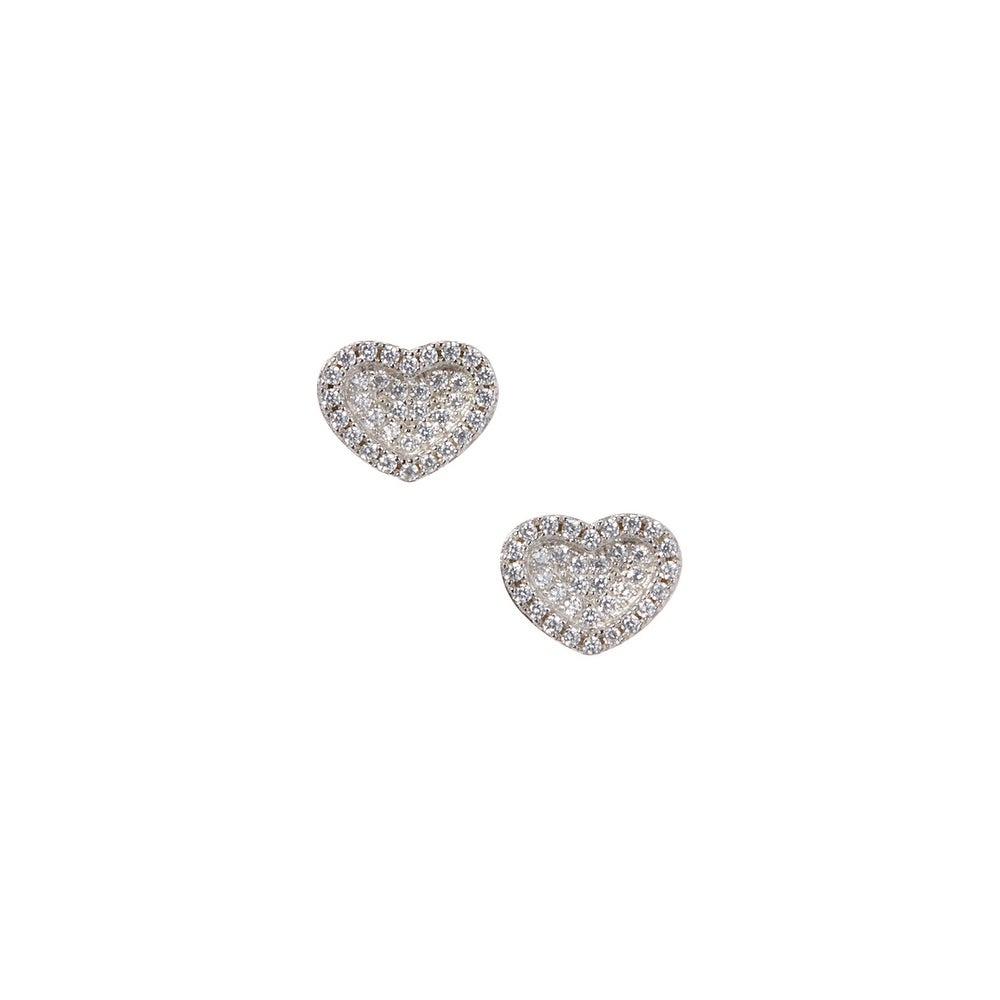 925 Sterling Silver Concave Heart Stud Earrings with Cubic Zirconia - Thumbnail 0