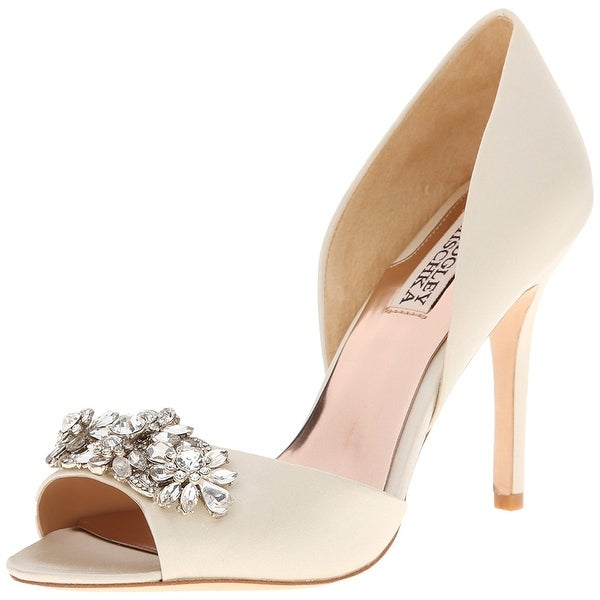 BADGLEY MISCHKA Womens Giana Leather Open Toe D-orsay Pumps