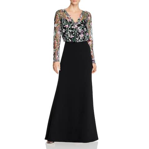 Tadashi Shoji Womens Formal Dress Embroidered Floral - Black