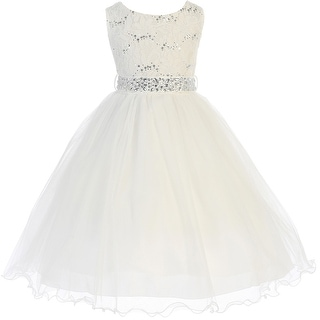 Flower Girl Dress Glitter Sequin Top & Rhinestone Sash Ivory JK 3670