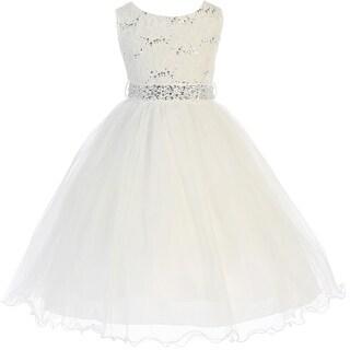 Flower Girl Dress Glitter Sequin Top & Rhinestone Sash Ivory JK 3670 (Option: 14)