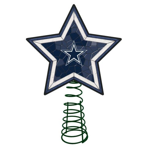 """10"""" Lighted Blue and White Star NFL Dallas Cowboys Christmas Tree Topper - N/A"""