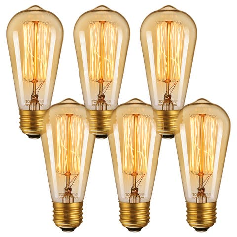 Vintage Edison Bulb, Dimmable 60W ST64 2200K Squirrel Cage Filament Bulb