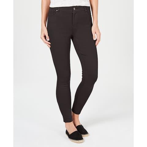 "Style & Co Women's Petite Ultra-Skinny Ponté-Knit Pants Brown Size 10"""