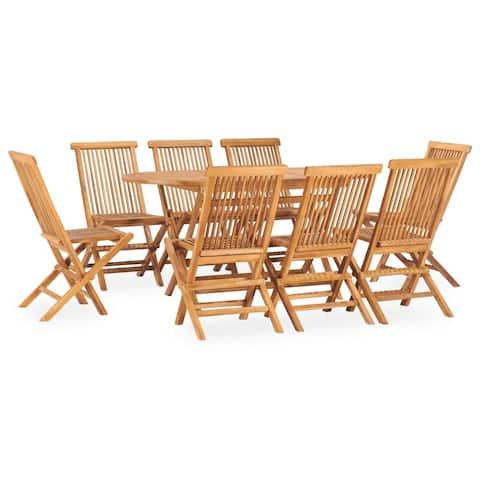vidaXL 9 Piece Folding Outdoor Dining Set Solid Teak Wood