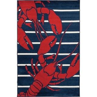 Link to Tecopa Navy Lobster Indoor Outdoor Woven Area Rug Similar Items in Chandeliers