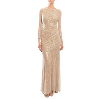 Carmen Marc Valvo Long Sleeve Sequined Mermaid Ruched Evening Gown Dress Nude