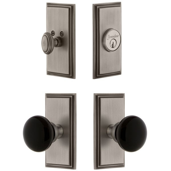 Grandeur CARCOV_SP_ESET_238 Carre Solid Brass Rose Single Cylinder Keyed Entry Deadbolt and Knobset Combo Pack with Coventry