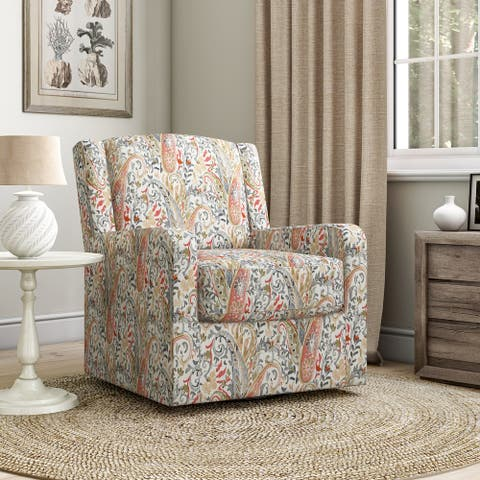 Copper Grove Lucy Paisley Modern Wing Back Swivel Club Chair