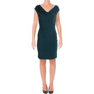 Lauren Ralph Lauren Womens Petites Casual Dress Pleated Cap Sleeves