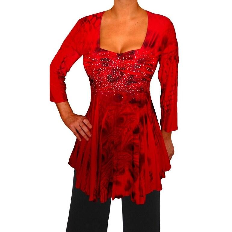 Funfash Plus Size Red Peacock Rhinestone Top Blouse Shirt Made in USA - Thumbnail 0