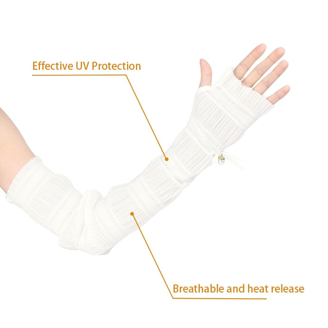 Tale of The Peacock Tail Women Outdoor Sun Block Soft Long Arm Sleeve Fingerless Gloves