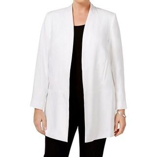 Calvin Klein NEW White Women's Size 20W Plus Open Front Blazer Coat