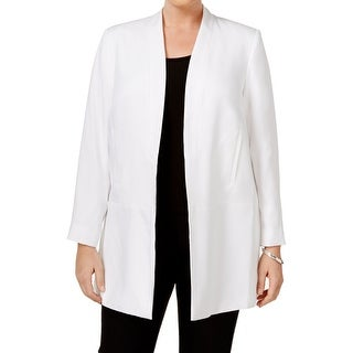 Calvin Klein NEW White Womens Size 16W Plus Open Front Textured Jacket