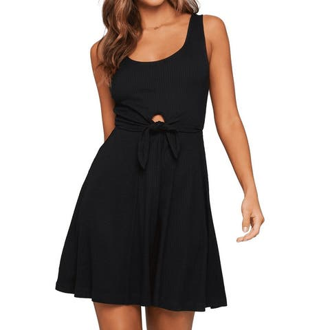 L Space Womens Swimwear Black Size XS Cover Up Dress Cutout Ribbed
