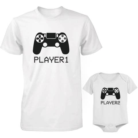 Player 1 and 2 Dad and Baby Matching Shirt and Bodysuit
