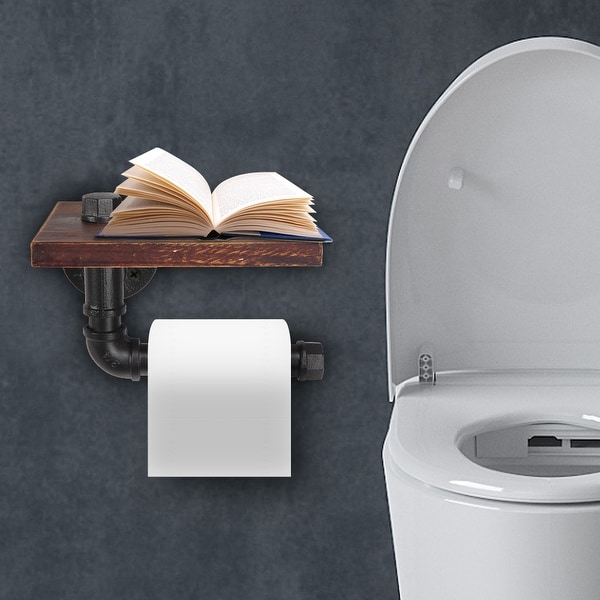 Cast Iron Combined Bathroom Paper Holder Wooden Shelf. Opens flyout.