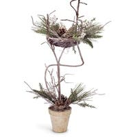 "Set of 2 Iced Artificial Mixed Pine with Cones and Berries Decorative Christmas Topiary Trees 27"" - green"
