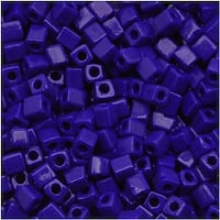Miyuki 4mm Glass Cube Beads Opaque Royal Blue 414 10 Grams