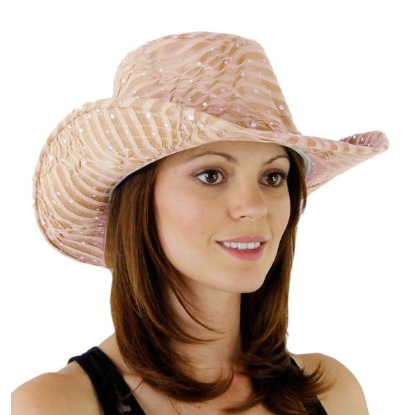 Glitter Sequin Trim Cowboy Hat for Ladies