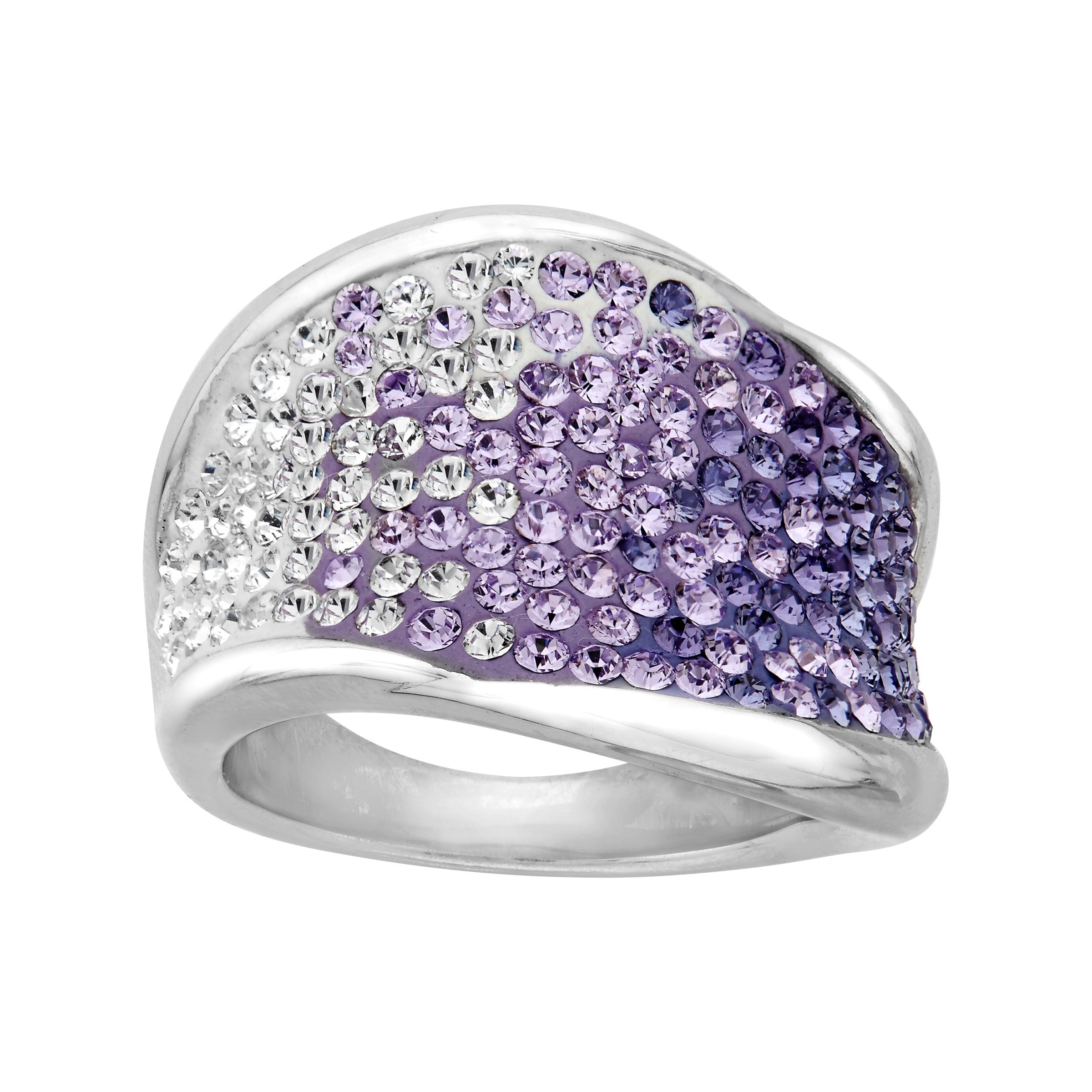 Ring with Lavender /& Lilac Swarovski Crystal in Sterling Silver