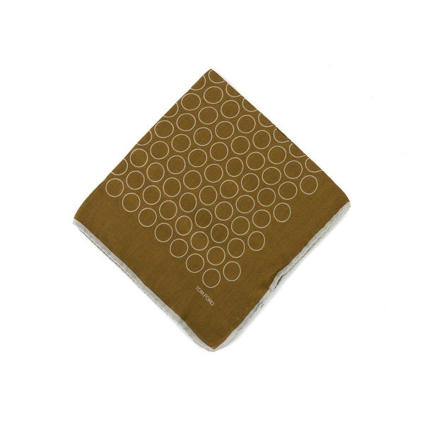 Tom Ford Mens Cognac Brown Wide Hoop Silk Pocket Square