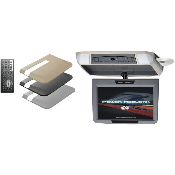 """Power Acoustik Pmd-90 9"""" Ceiling-Mount Swivel Dvd Entertainment System With Ir & Fm Transmitters & 3 Interchangeable Skins"""